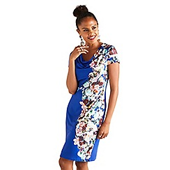 Yumi - Blue botanical cowl neck 'Arlete' dress