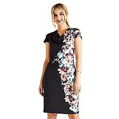 Yumi - Black botanical cowl neck 'Arlete' dress