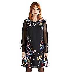 Yumi - Black botanical 'Vally' tunic dress