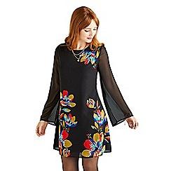 Yumi - Black geometric floral 'Baylie' tunic dress