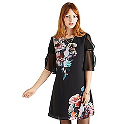 Yumi - Black floral placement 'valyncia' tunic dress
