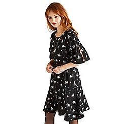 Yumi - Black bird and swan print 'Valta' skater dress