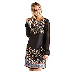 Yumi - Black floral hexagon 'Valrie' tunic dress