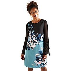 Yumi - Black blossom 'Baylyn' sleeve tunic dress