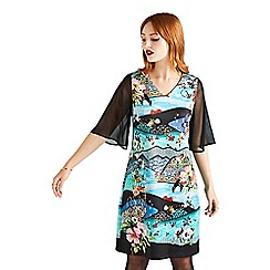 Yumi - Black persian scene jersey 'Valon' tunic dress