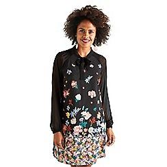 Yumi - Black gradient flower 'Beanca' tunic dress
