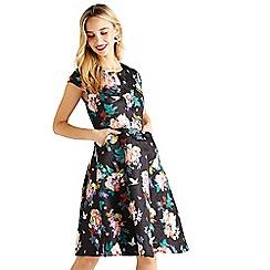 Yumi - Black floral jacquard 'Valoree' fit-flare dress