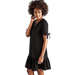 Yumi - Black ribbed ponte 'Arliss' tunic dress