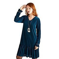 Yumi - Blue striped velvet 'Arlita' tunic dress