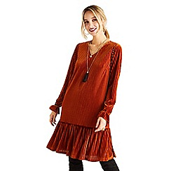 Yumi - Bronze striped velvet 'Arlita' tunic dress