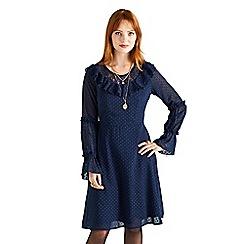 Yumi - Navy lace and ruffled 'Vallon' swing dress