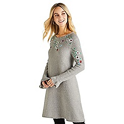 Yumi - Dark grey floral knitted 'Arneta' tunic dress