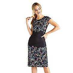 Yumi - Black botanical 'Arlyce' slinky bodycon dress