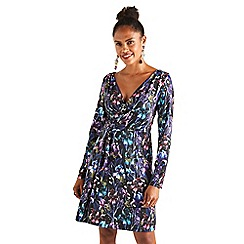 Yumi - Multicoloured iris flower 'Valonda' wrap dress