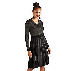 Yumi - Gold knitted lurex 'Eliet' midi dress