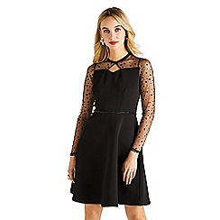 Yumi - Black mesh and bead ponte 'Arzell' prom dress