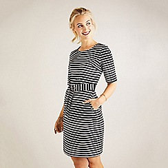 Yumi - Multicoloured stripe self-tie waist bodycon dress