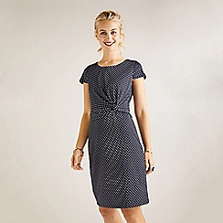 Yumi - Black polka dot printed jersey dress