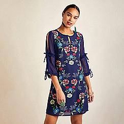 Yumi - Navy floral print sheer sleeves tunic dress