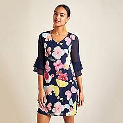 Yumi - Navy butterfly print sheer sleeves tunic dress