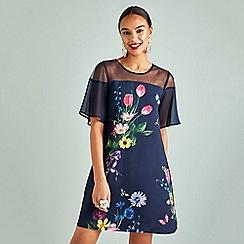 Yumi - Navy floral print short sleeves tunic dress
