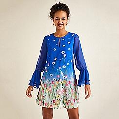 Yumi - Blue floral print layered frill cuff tunic dress