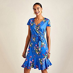 Yumi - Blue bouquet print slinky jersey dress