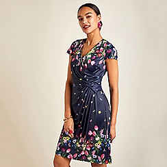 Yumi - Navy bouquet floral print V-neck wrap dress