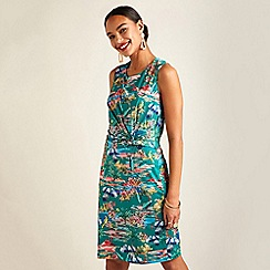 Yumi - Green tropical print slinky jersey dress