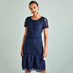 Yumi - Navy lace classy neckline bodycon dress