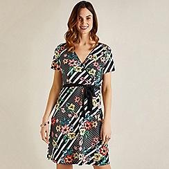 Yumi - Black floral stripe knee length wrap dress