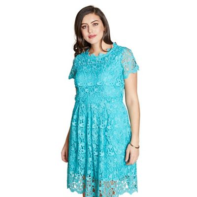 61bdc7921e Yumi Curves - Aqua floral print  Pacifica  skater dress