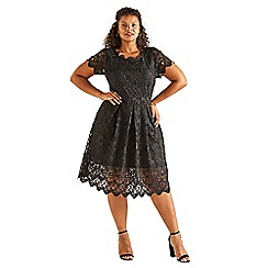 Yumi Curves - Black lace 'Elodia' plus size occasion dress