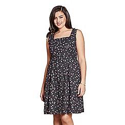 09e9ff2db5b Yumi Curves - Black printed  Florey  sleevesless skater dress