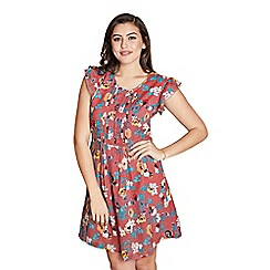 Yumi Curves - Mauve floral 'Ember' plus size skater dress