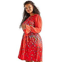 33cb3e0c3b0711 Yumi Curves - Red butterfly print 'Brania' plus size dress