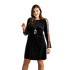 Yumi Curves - Black mesh and velvet 'Batoul' tunic dress