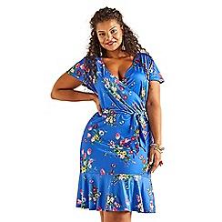 Yumi Curves - Blue bouquet print plus size slinky jersey dress