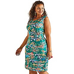 Yumi Curves - Green floral print plus size slinky jersey dress