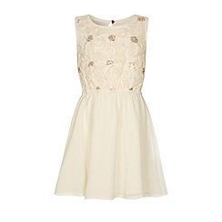 Yumi Girl - Cream Girls 3D flower embroidery dress
