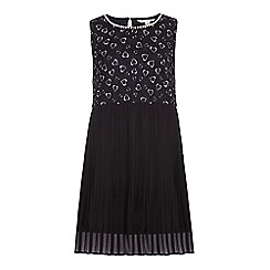 Yumi Girl - Black Pleated Dress With Heart Print