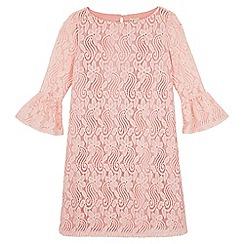 Yumi Girl - Pink Lace Flared Sleeve Tunic Dress