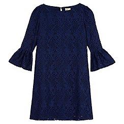 Yumi Girl - Blue Lace Flared Sleeve Tunic Dress