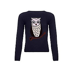 Yumi Girl - Blue Owl Jumper With Sequins