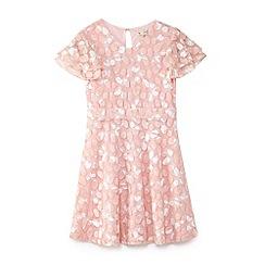 Yumi Girl - Girls' pink butterfly print lace skater dress