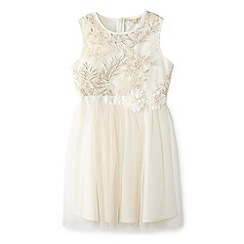 Yumi Girl - Ivory embroidered floral ombre dress