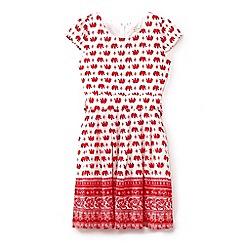 Yumi Girl - Girls' red elephant print tie waist dress