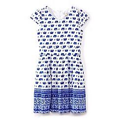Yumi Girl - Girls' blue elephant print tie waist dress