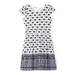 Yumi Girl - White elephant print tie waist dress