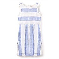 Yumi Girl - Girls' blue stripe print lace party dress